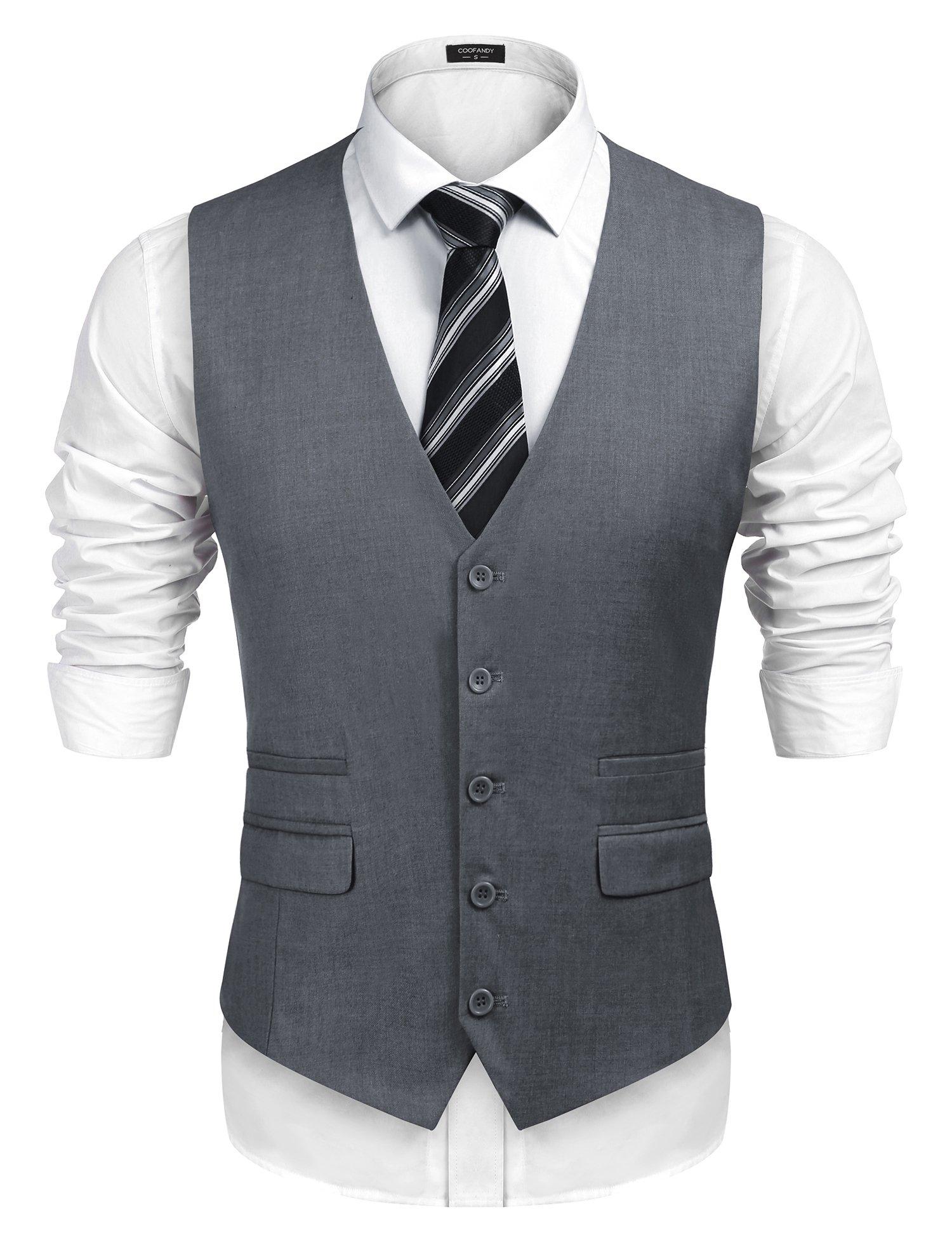 COOFANDY Men's Business Suit Vest,Slim Fit Formal Skinny Wedding Waistcoat,Grey,Small
