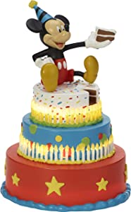 Precious Moments Disney Showcase Mickey's Birthday Wishes Mickey Mouse Birthday Cake LED Tabletop Resin Figurine 182702
