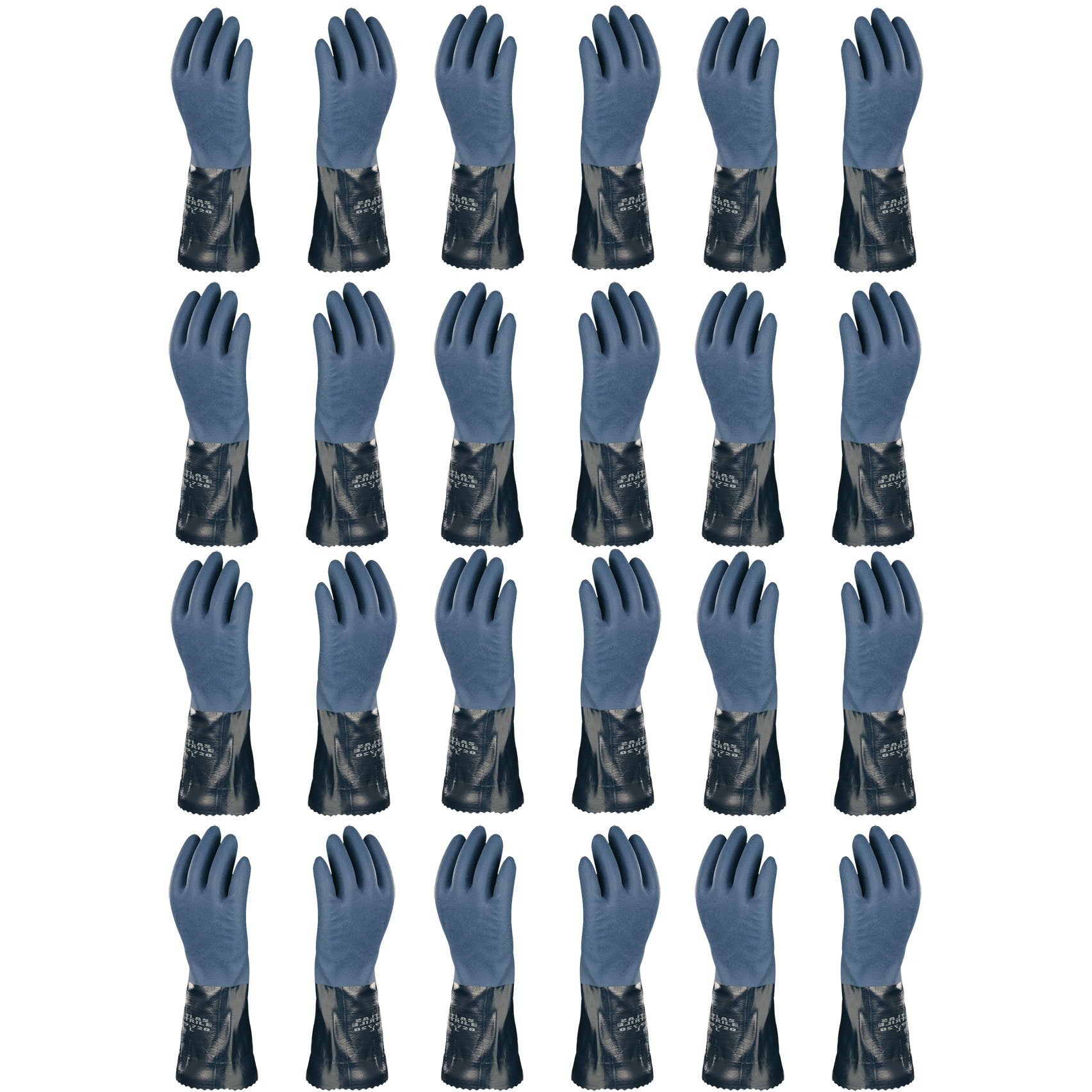 Atlas 720 Dipped-Nitrile Blue Chemical Resistant Small Work Gloves, 12-Pairs