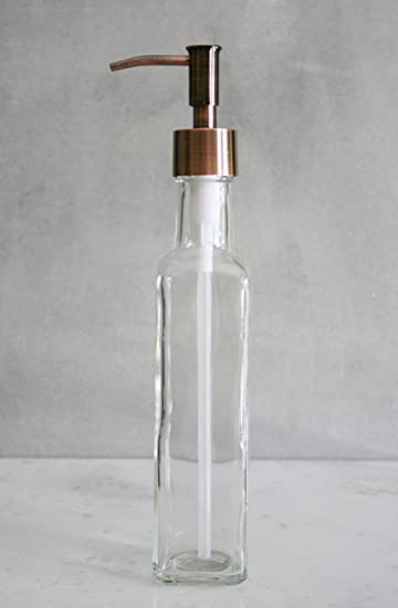 French Vessel Glass Soap Dispenser With Metal Pump   Tall Soap Dispenser  Perfect For Vessel Sinks
