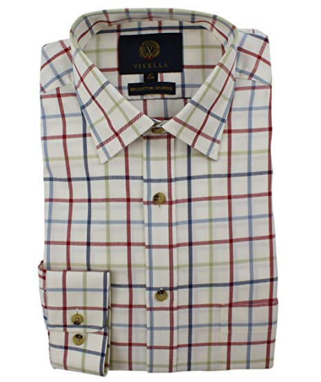 14645ad146 Viyella Country Style Large Checked Shirt Cotton Wool Casual Shirt for Men:  Amazon.co.uk: Clothing