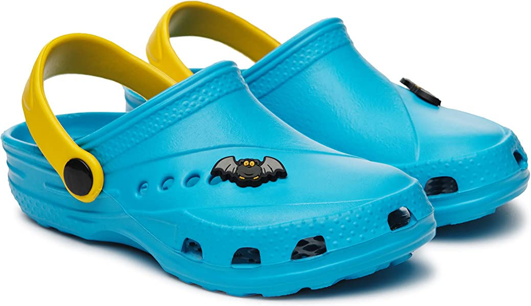 Boys//Girls Multicolour Boys Clogs with a Bat Charm for Summer//Garden//Pool Size 9//10//10.5//11//12//13 Child UK; 1//2 UK
