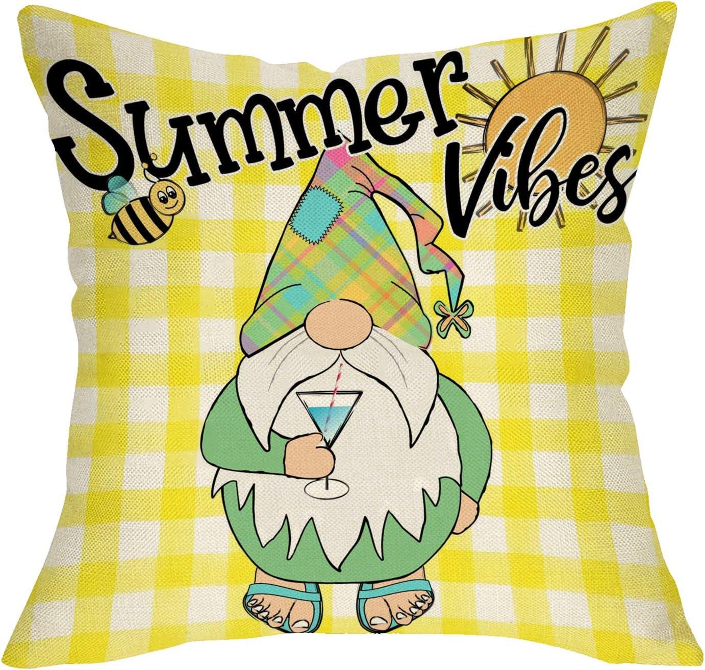 Softxpp Summer Vibes Gnome Decorative Throw Pillow Cover, Yellow Buffalo Plaid Check Bee Cushion Case, Farmhouse Seasonal Home Decorations Cotton Linen Outside Pillowcase Decor for Sofa Couch 18 x 18
