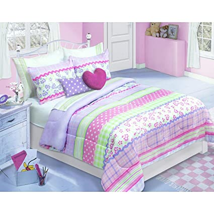 Amazon.com: Home Style Floral Kids Comforter Set Twin Size ...