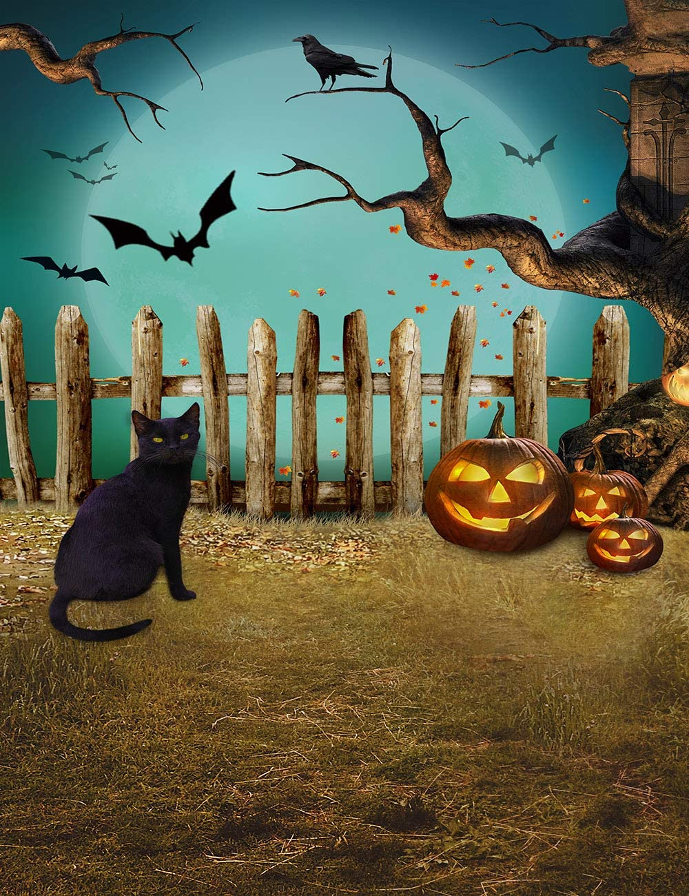LB Halloween Pumpkin Lantern Backdrop for Photography Cat Bat Crow Fence Old Tree Nightmare Full Moonlight Halloween Party Photo Background for Kids Children 5x7ft Customized Photo Booth Props