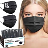 Black Disposable Face Mask, Disposable Face Masks for Women, Breathable Face Mask for Men, Comfortable Cool Dust Mask with No