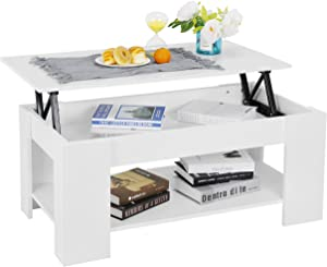 SUPER DEAL Newest Lift Top Coffee Table w/Hidden Compartment and Storage Shelves Pop-Up Storage Coffee Table (White) (White)