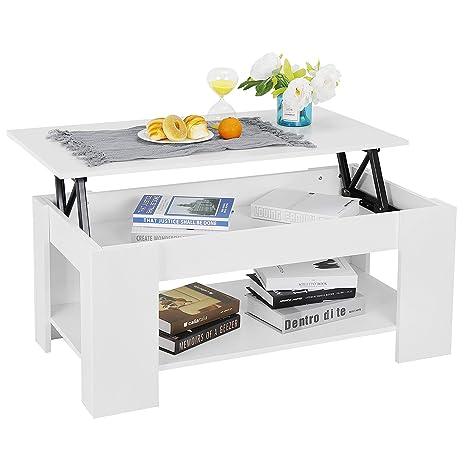 Amazon.com: Mesa de centro con compartimento oculto y ...