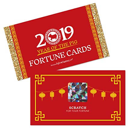 chinese new year 2019 year of the pig party scratch off fortune cards 22