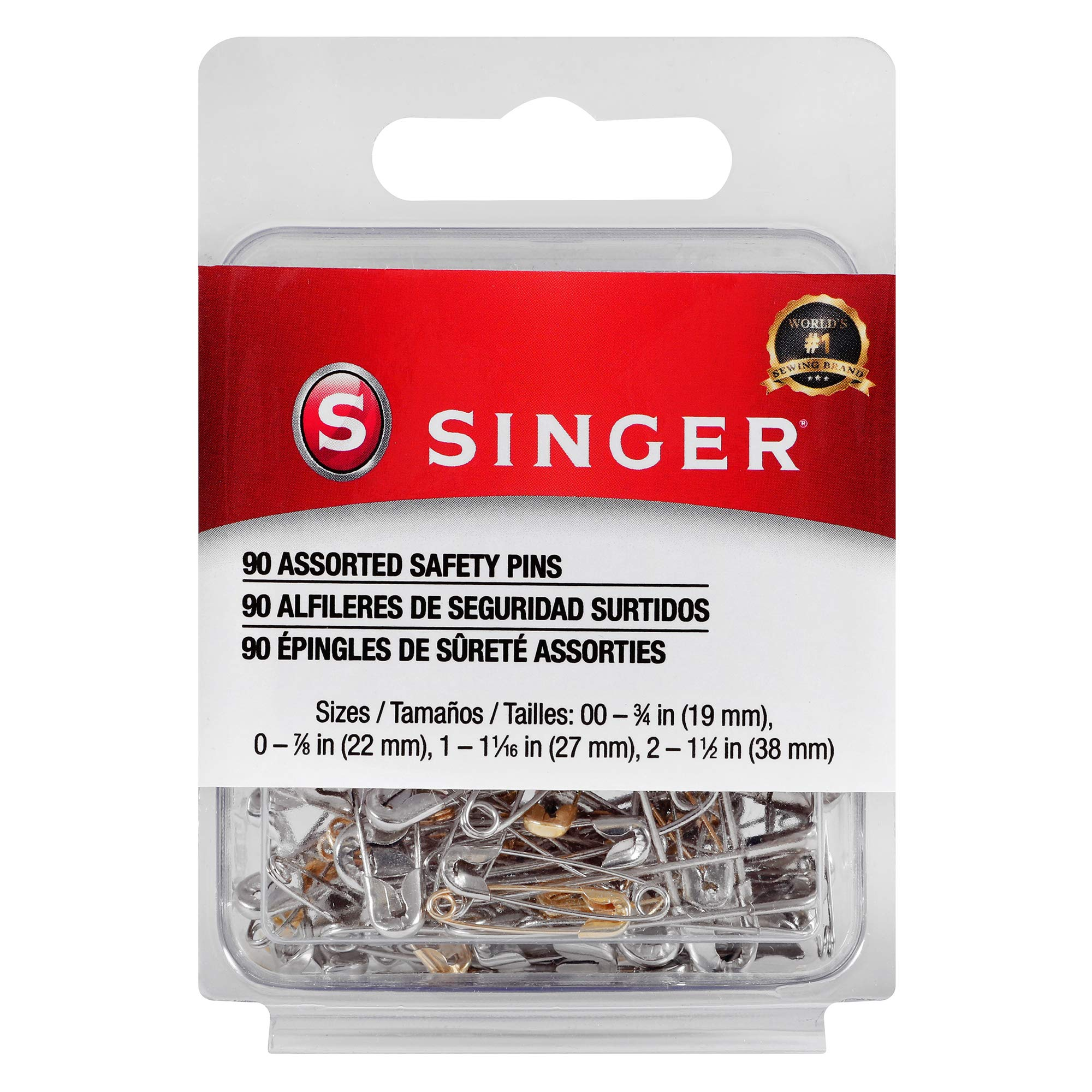 SINGER 00221 Assorted Safety Pins, Multisize, 90-Count