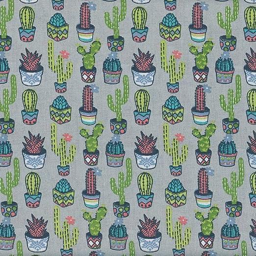 Textiles français Tela Cactus (Azul, Verde y Rosa sobre un Fondo ...