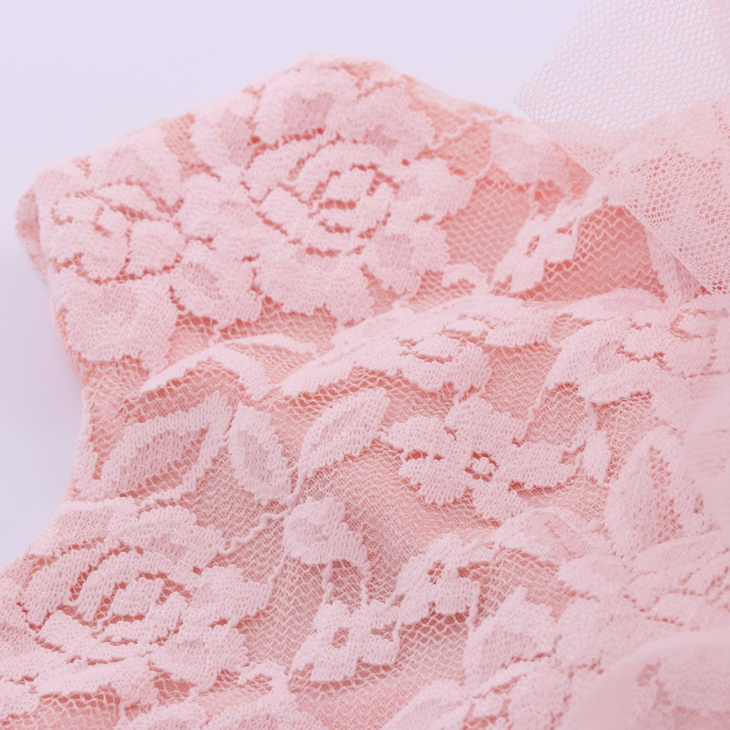Cilucu Baby Girls Dress Toddler Kids Party Dress Tutu Pageant Lace Dresses Gown for Flower Girl Baby Birthday Pink Peach