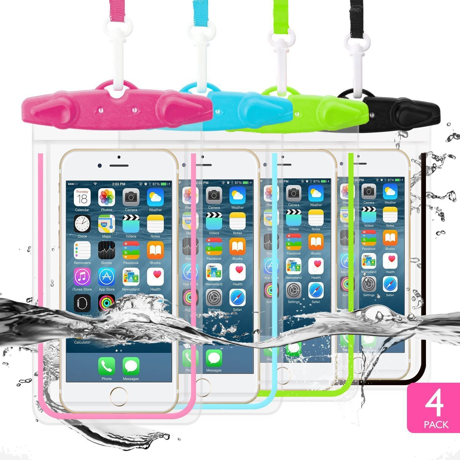 """Universal Waterproof Case, WJZXTEK Waterproof Phone Pouch for iPhone 11 Pro Max XS XR X 8 7 6S Plus Samsung Galaxy s10/s9 Google Pixel 2 HTC Up to 6.5"""",IPX8 Cellphone Dry Bag -4 Pack"""