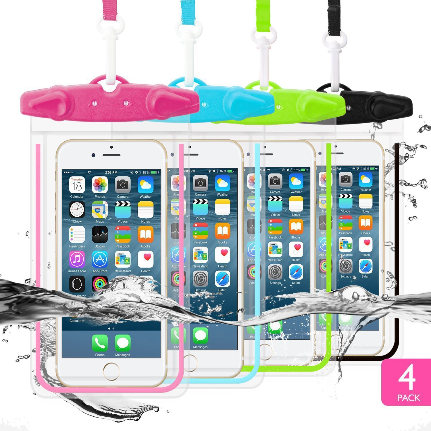 WJZXTEK Waterproof Case 4 Pack Universal Waterproof Cell Phone Case Phone Pouch Underwater Dry Bag Compatiable With iPhone XS XR X 8 8 Plus 7 7Plus Galaxy S8/S7 Edge/S6 Note4 (Blue+Pink+Red+Black) by WJZXTEK