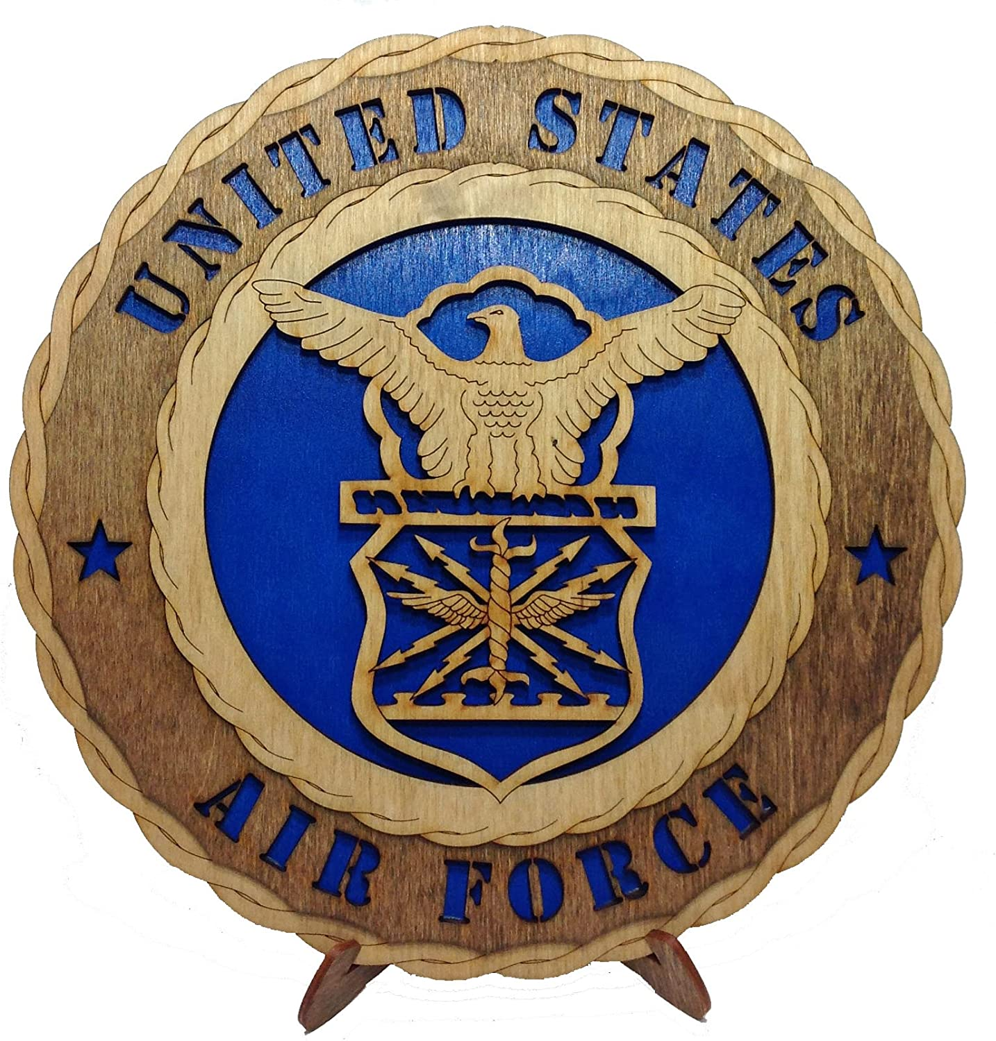 Unique Decorative Custom Laser Crafted Three Dimensional Wooden Wall Plaque - Armed Forces Air Force