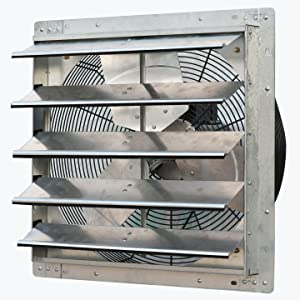 "iLiving - 20"" Wall Mounted Exhaust Fan - Automatic Shutter - Variable Speed - Vent Fan For Home Attic, Shed, or Garage Ventilation"