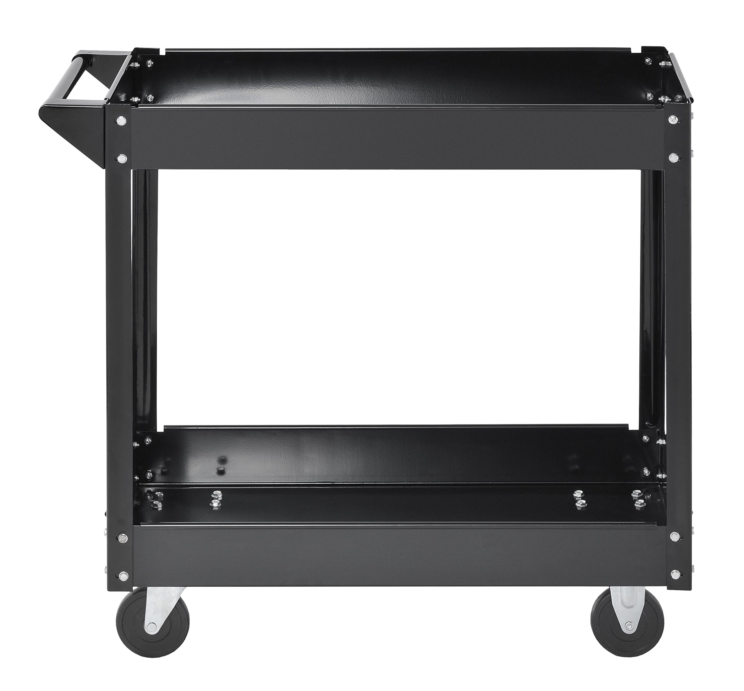 Muscle Rack SC3016 Industrial Black Commercial Service Cart, Steel, 220Lbs Capacity, 33'' Width x 30.5'' Height x 16'' Depth, 2 Shelves, 30.5'' Height, 33'' Width, 16'' Length by Muscle Rack (Image #7)