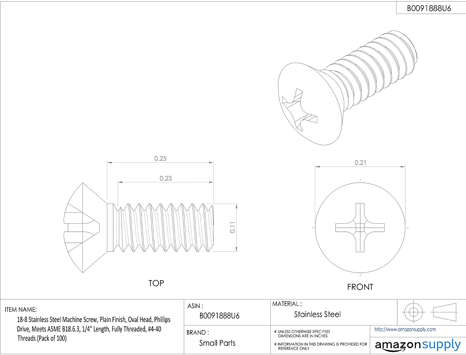 Pack of 100 Oval Head Meets ASME B18.6.3 Fully Threaded 1//4 Length Small Parts Plain Finish Phillips Drive 18-8 Stainless Steel Machine Screw #4-40 UNC Threads 1//4 Length