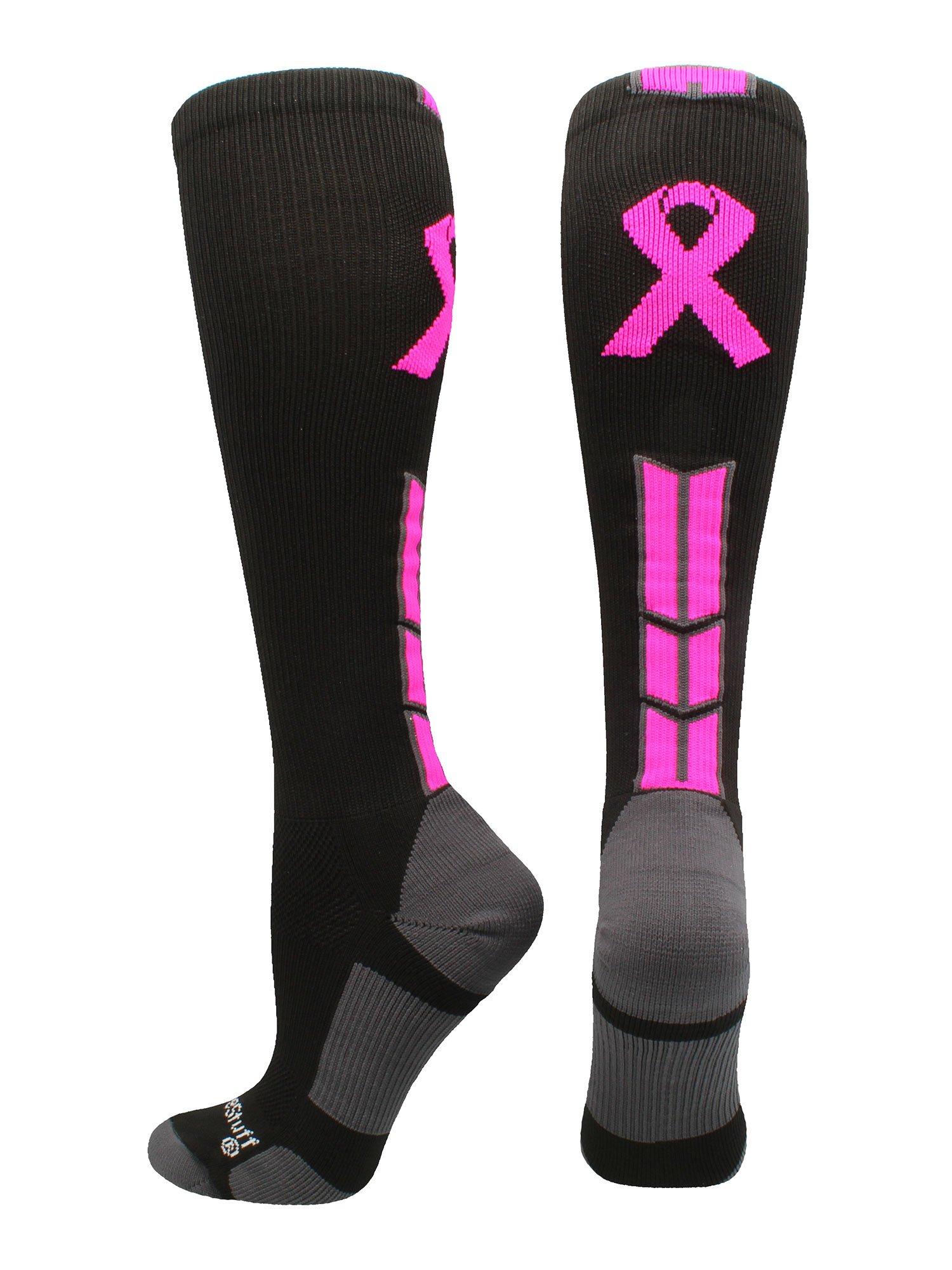 MadSportsStuff Triumph Pink Ribbon Awareness OTC Socks (Black/Neon Pink, Large)