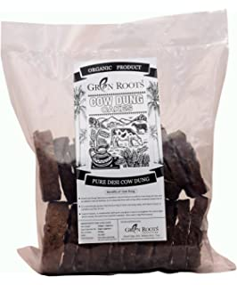 GREEN ROOTS Cakes Made from 100% Indian Desi Cow's Dung 8cm (25 Pcs) 550gm (Approx.)