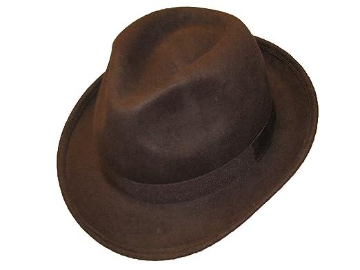 58faa81fb Hawkins New Gents Mens 100% Wool Felt Fedora Ttrilby With 5cm Wide Brim
