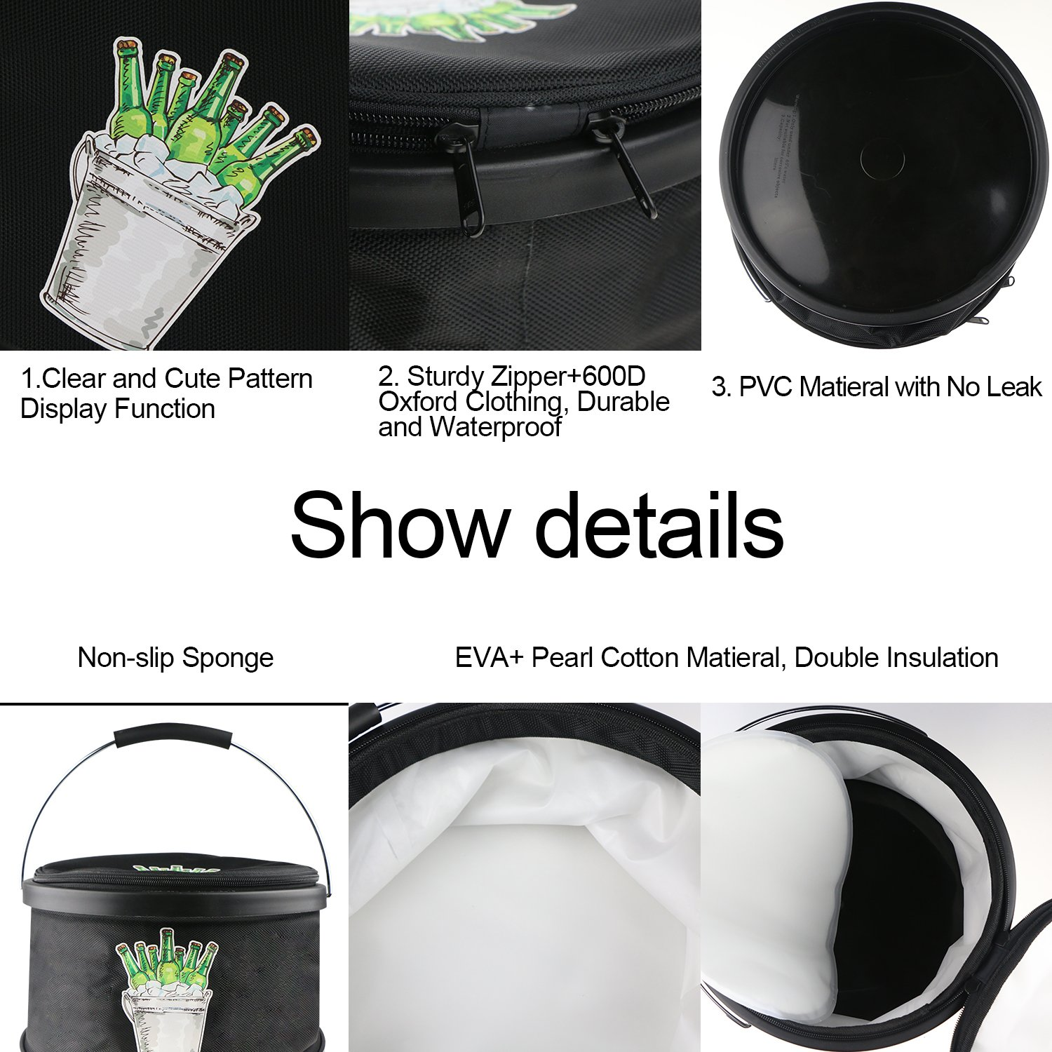 Collapsible Ice Bucket Drinks Lunch Cooler, LC-dolida Portable Folding Camping Beverage Beer Can Cooler with Zipper Double Insulated Bucket Bag for Hiking, Picnic, Travel Black