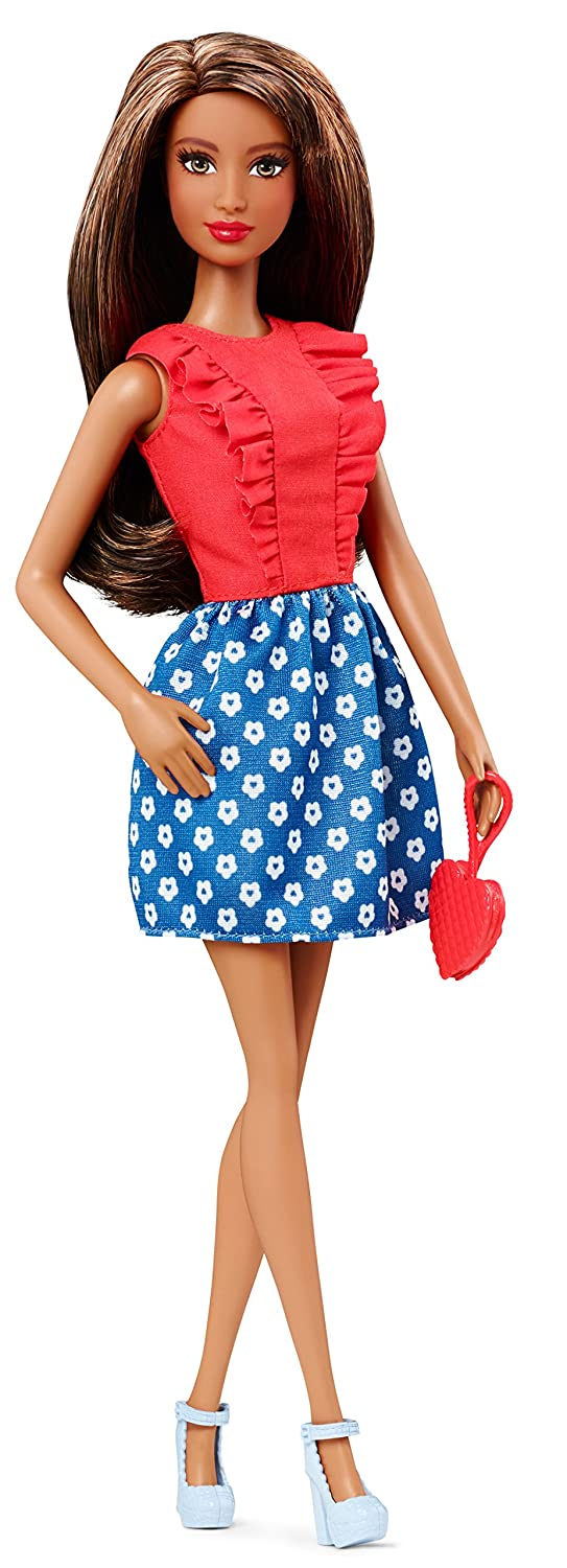 Garantía 100% de ajuste Barbie Fashionistas Doll 5 Red Frilly Blouse With Blue and and and White Flowers Dress  40% de descuento
