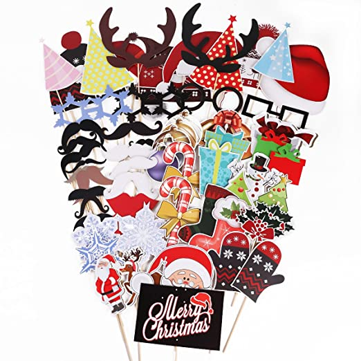 SurePromise One Stop Solution for Sourcing 61 Piezas Photocall Navidad para Fiesta Party Set Decorativo para Xmas Christmas Party Photocalls Papel de ...
