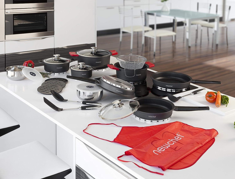 NEWCHEF Batería de Cocina de Aluminio Fundido, 27 piezas, Juego de Utensilios de Cocina Antiadherentes, con Protectores de Silicona, Apto para Cocinas de ...