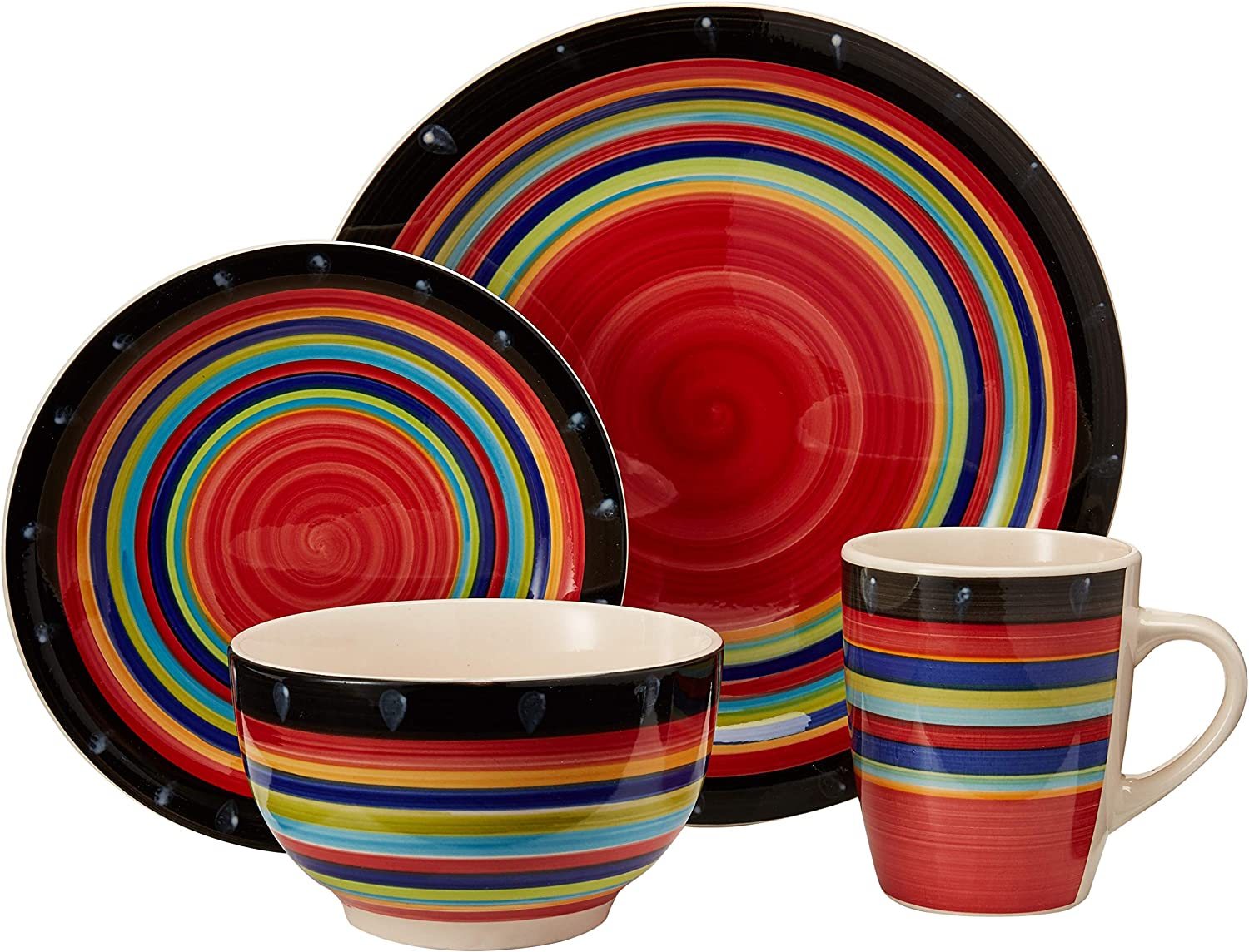 16-Piece Reactive Glaze Dinnerware Set Plates Mugs Kitchen Dishes Bowls Red NEW