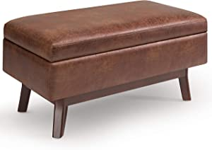 SIMPLIHOME Owen 36 inch Wide Rectangular Coffee Table Lift Top Storage Ottoman, Cocktail Footrest Stool in Upholstered Distressed Saddle Brown Faux Air Leather for the Living Room, Mid Century Modern