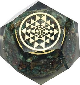 PYOR Green Aventurine Dodecahedron Yantra Symbol Reiki Healing Aura Cleansing Gemstone Crystal Home Decor EMF Protection Positive Energy Generator 1.5-2 Inch