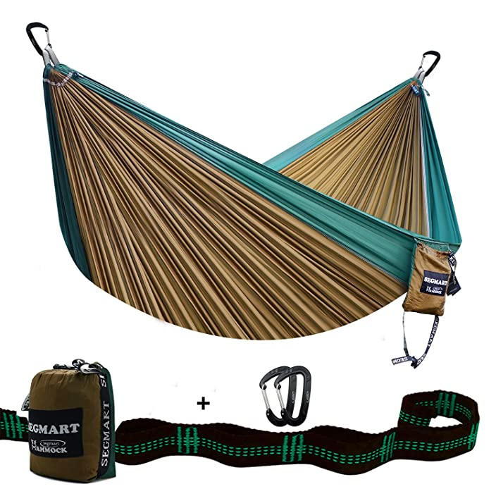 SEGMART Camping Hammock- Easy Hanging Double Hammock with Tree Straps&Carabiners