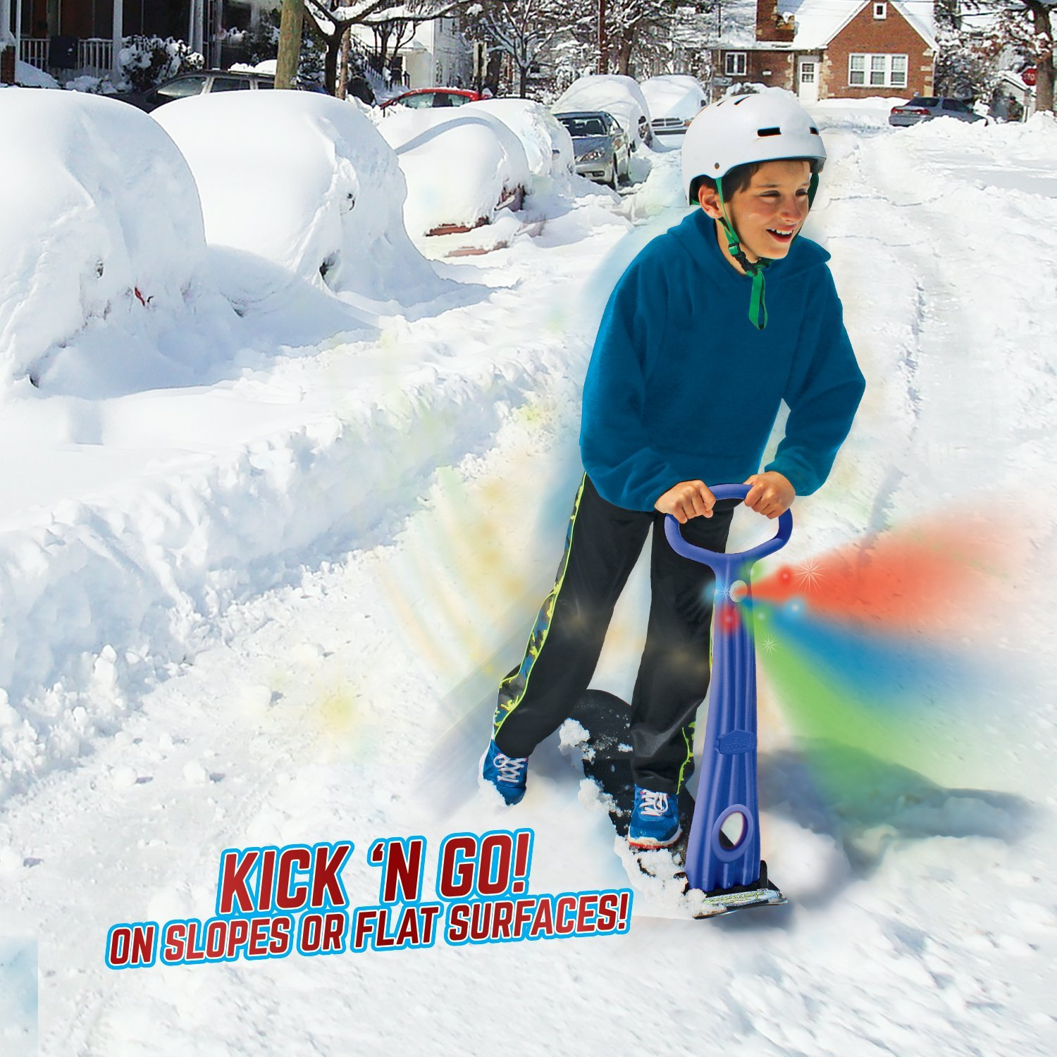 Original Ski Skooter, Fold-up Snowboard Kick-Scooter for Use on Snow & Grass, Snow Sled, Winter Toys fun snow toys kids