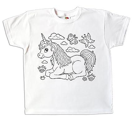 Kinder T Shirt Einhorn Für Mädchen Zum Bemalen Und Ausmalen Mit