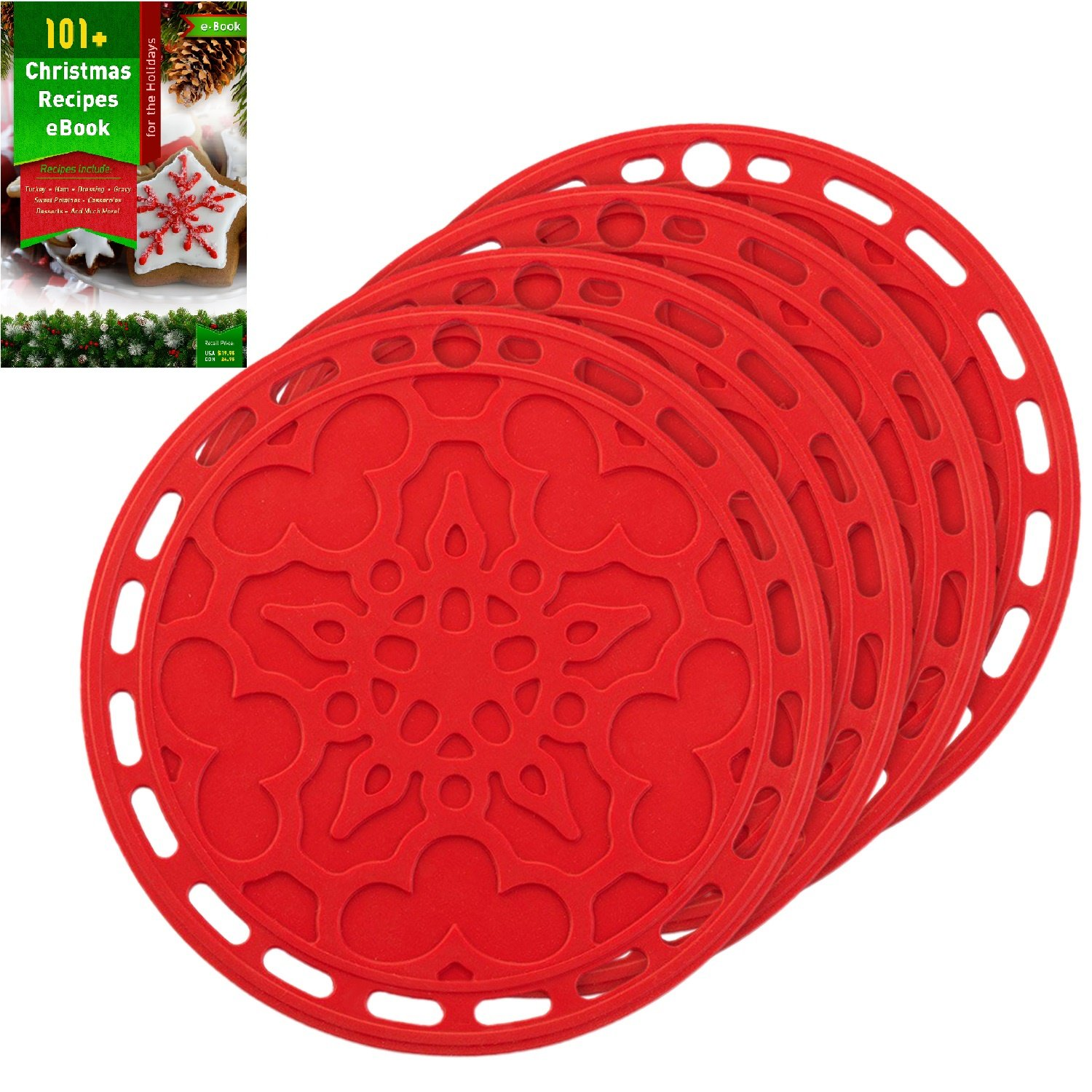 Silicone Hot Pads (Set Of 4)   6 In 1 Multi Purpose Kitchen Tool, Pot Holder,  Splatter Guard, Microwave Cover, Jar Opener, Decorative Trivet, Red, 8  Inches.