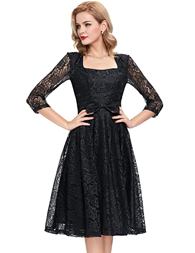 Belle Poque Women's 3/4 Sleeves Lace Vintage Party Cocktail Dress