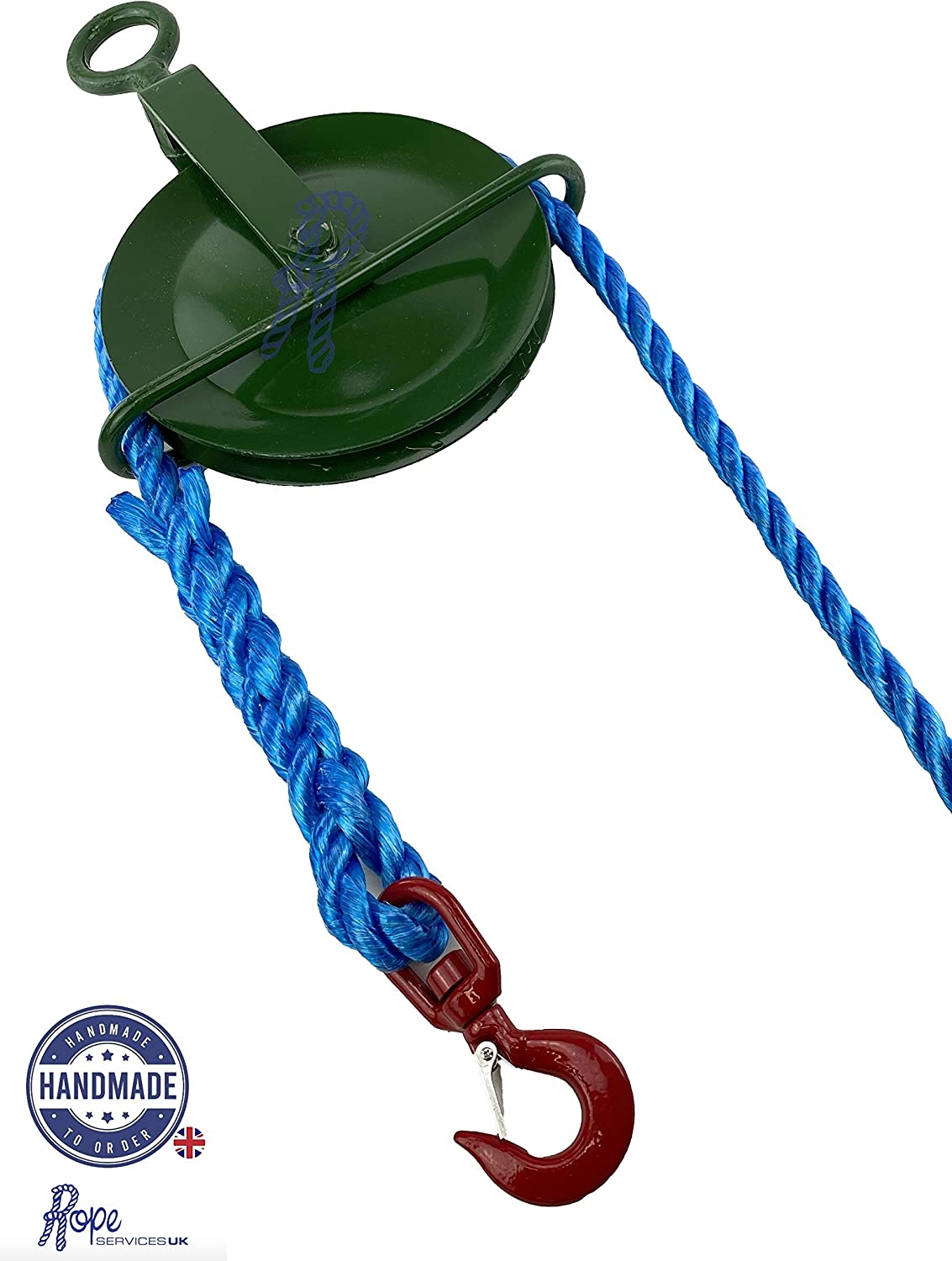 20mm Blue Polypropylene Gin Wheel Rope x 40 Metres Complete with Gin Wheel /& 1T Swivel Hook