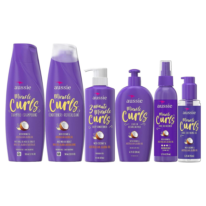 Aussie Aussie Miracle Curls Collection: Shampoo, Conditioner, Deep Conditioner, Spray Gel, Detangling Milk, and Oil Hair Treatment