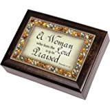 A Woman Who Fears the Lord is to be Praised Proverbs 31:30 Italian Style Burlwood Finish Decorative Jewel Lid Musical Music Jewelry Box Plays Amazing Grace