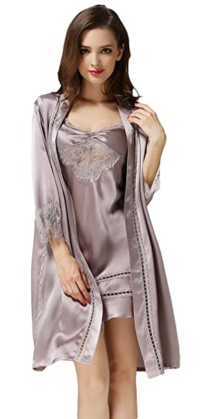 CLC Pure de seda de la mujer Set de pijama bordado camisón: Amazon.es: Ropa y accesorios