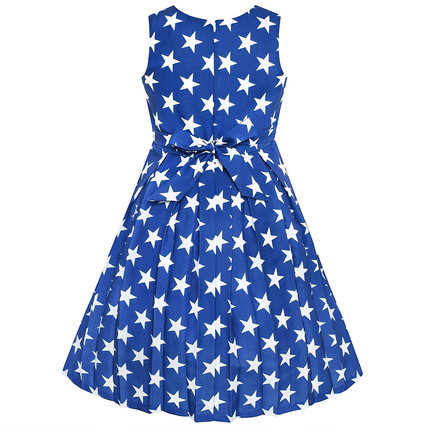 a087736f0b Amazon.com: Sunny Fashion Girls Dress Color Block Contrast Bow Tie Everyday  Party Size 4-14: Clothing
