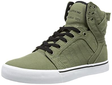 bb1100002f2c Supra Mens SKYTOP Low Green Grün (OLIVE BLACK-WHITE OLB) Size  7 (41 ...