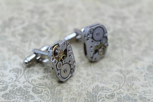 handmade cufflinks Victorian unique cufflinks tie bar Industrial Squirrel steampunk wedding Gear cufflinks steampunk cufflinks