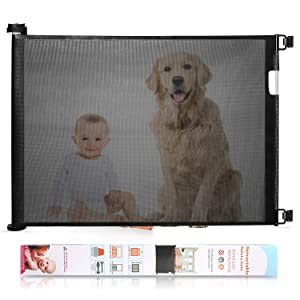 Babepai Retractable Baby Gate Wide Safety Mesh Gate Easy to Roll and Latch for Stairways Doorways Hallways Patios Deck Banisters Flexible and Extensible Pets Gate Up to 54 inch Wide, Black