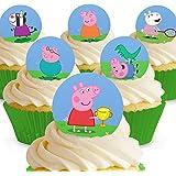 Lot de 12 mini-disques assortis Peppa Pig Comestibles PRÉ-DÉCOUPÉS par Cakeshop