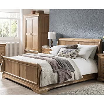 French Solid Oak 5 King Size Sleigh Bed Amazoncouk Kitchen Home