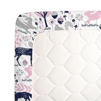 Carousel Designs Bubblegum Pink and Navy Woodland Animals Crib Sheet -  Organic 100%