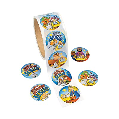 Fun Express - Happy Birthday Jesus Roll Stickers for Christmas - Stationery - Stickers - Stickers - Roll - Christmas - 1 Piece: Toys & Games