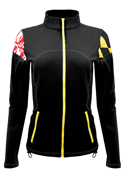 Twin Vision Activewear Maryland Flag Yoga Track Jacket Black